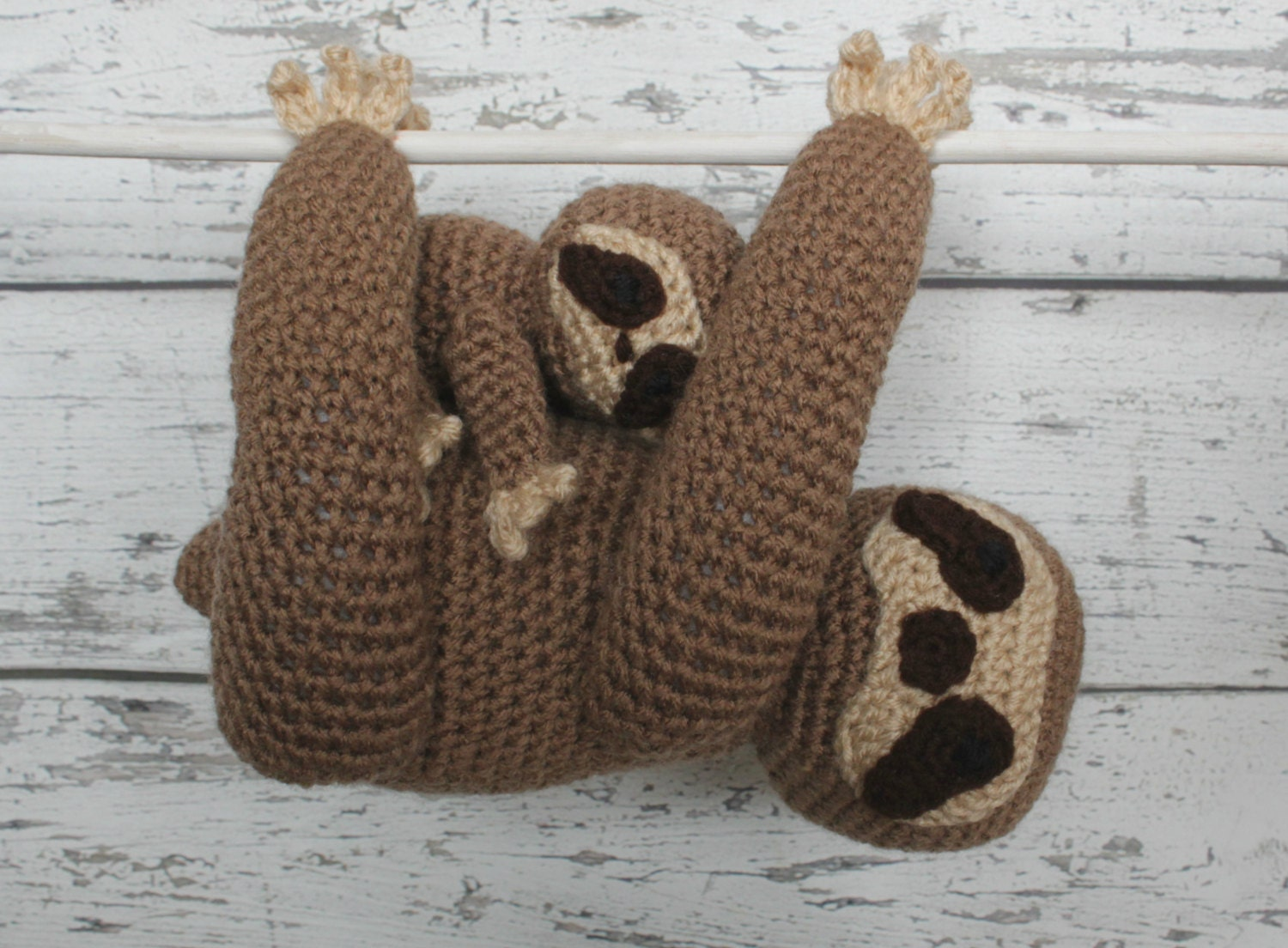 Free Amigurumi Sloth Pattern : Luna the sloth and baby made to order