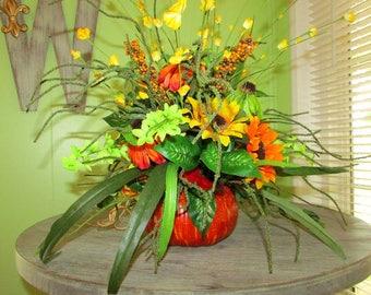 Pumpkin centerpiece, Fall centerpiece, pumpkin decor, Sunflower decor, Thanksgiving decor, centerpiece, fall wedding centerpieces, Autumn