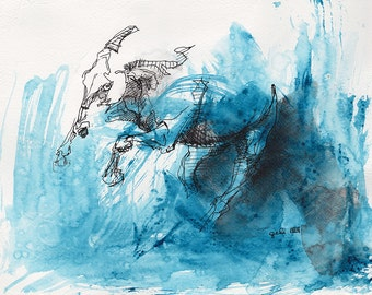 Original Acrylic, Ink and Pen Painting of a Horse in Motion, Modern Art, Expressive Animal Art, Equine Artist