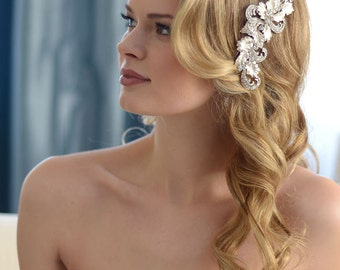 Vintage Hair Clip, Bridal Hair Clip, Wedding Hair Clip, Rhinestone Hair Comb, Floral Hair Clip, Silver Hair Clip, Wedding Headpiece ~TC-2251