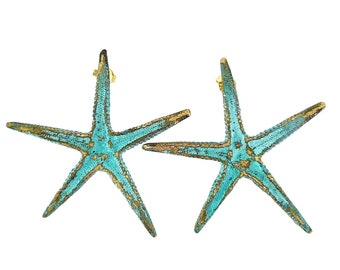 Greek Bronze Earrings 'Asteria' the Star of the Sea by Ilios, Greek Earrings, Greek Jewelry, Starfish Earrings, Greek Goddesss Jewelry