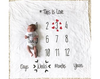Baby Milestone Blanket, Anniversary blanket, baby blanket, newborn photo prop, Baby Gift, Nursery Decor, Age Blanket, monthly blanket