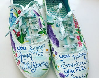 Wildflowers Tom Petty inspired Handpainted shoes women size 8