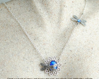 Dragonfly Necklace, Blue Dragonfly Pendant, Sapphire Woodland, Sapphire Necklace, Nature Jewellery, Dragonfly Jewelry, Dragonfly Jewellery