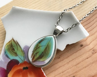 Aqua and Green Leaf Broken Dishware Necklace Mother's Day Gift