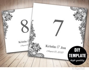 Elegant Lace Table Card Template in Grey,Silver Table Numbers Template,Grey Table Number Template Instant Download,Silver Wedding