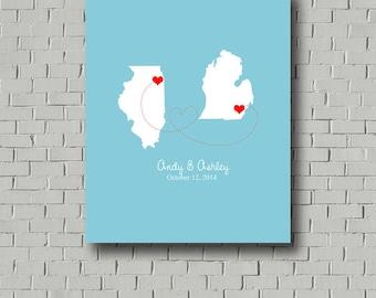 Wedding Guest Book Alternative, Wedding Map, Guest Book Sign, Guest Book Map, Wedding Gift, Destination Wedding, Guestbook Map 2 States