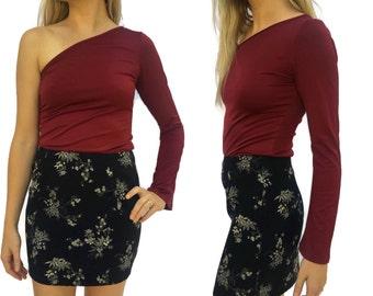 90s Asian Oriental Floral Mini Skirt