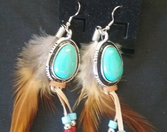 Southwestern Earrings, Native Style Earrings, Turquoise and Brown Feather Earrings, Southwestern Style Jewelry, Native Southwestern Style