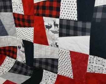 Full Size Trendy Woodland Arrow Quilt / Sofa Quilt / Buffalo Plaid Quilt / Throw Quilt