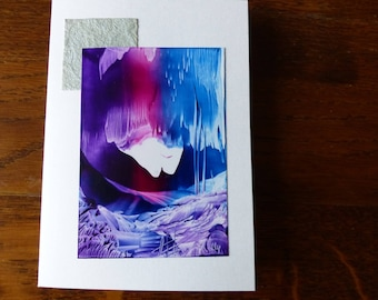 Original Encaustic Painting greeting card here or there 58 icy