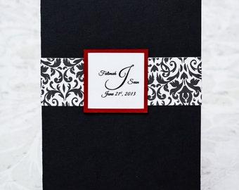 Black and Red Damask Pocketfold Invitation