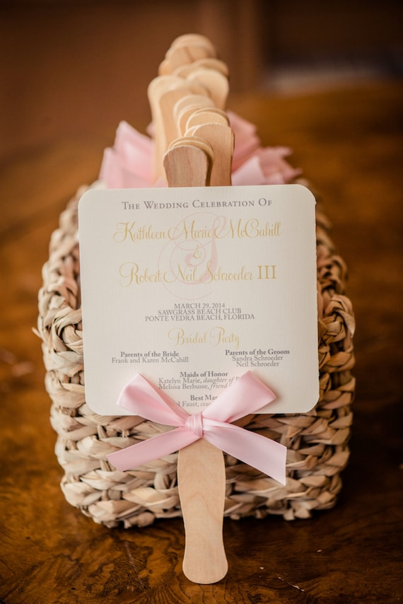 Wedding program fan blush program fans beach wedding solutioingenieria Image collections
