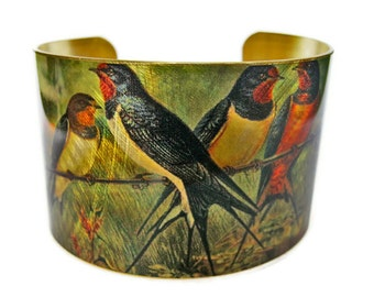 Barn Swallows cuff bracelet Bird Vintage style brass Free Shipping to USA Gifts for her
