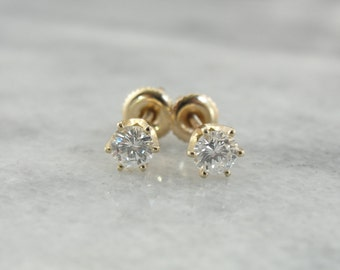 Vintage Threaded Post, Pierced Screw Back Diamond Stud Earrings C4669Q-N