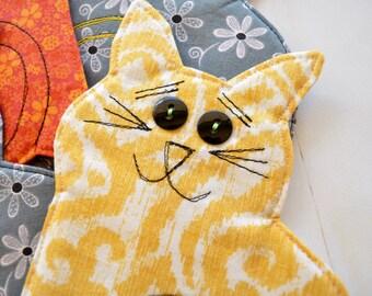 Cat coasters, thank you teacher gift, kitten mug rugs, fabric drinkmat,
