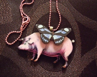 Perfect pink pig Necklace with a butterfly with chain color choice