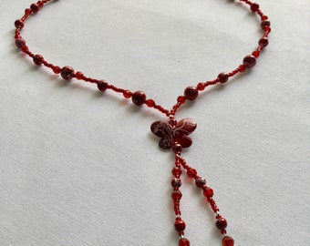 Red butterfly bead necklace with earrings