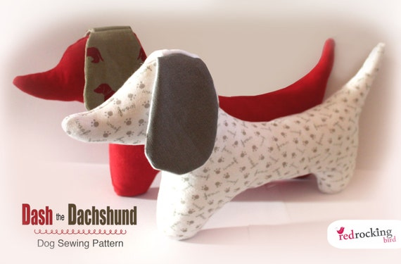 Dachshund Dog Sewing PATTERN - sausage dog from RedRockingBird on ...