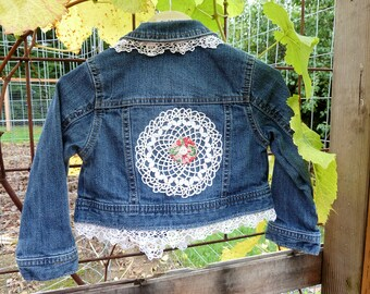 Size 2T Upcycled Jean Jacket, Ready to Ship Toddler Jean Jacket, Girls Shabby Chic Jean Jacket, Shabby Chic Jacket, Vintage Trim