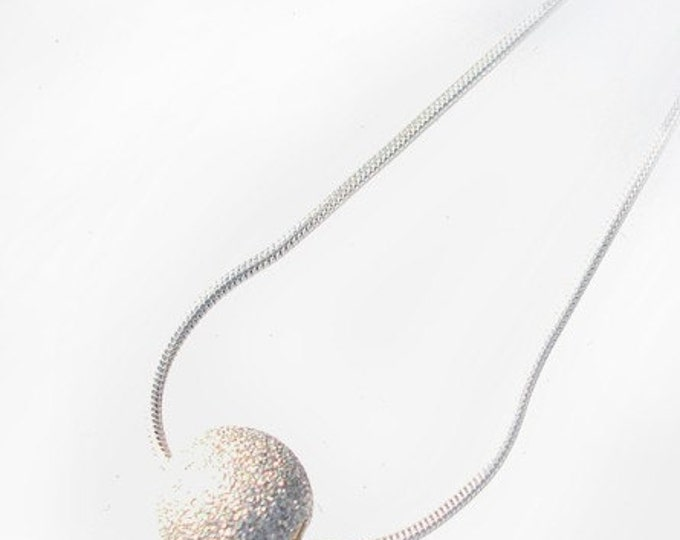 sand blasted sterling silver ball pendant