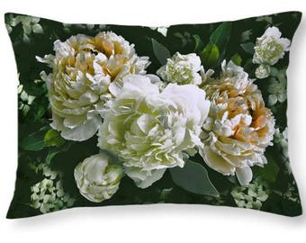 Velvet pillow, Peony and Dogwood throw pillow, 22x22 or 18x18 inches, soft velveteen bed pillow, decorative sofa pillow cover