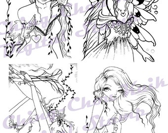 Valentine Love Fairy Digital Stamp Set of 4 Images - Instant Download / Heart Love Victoria Fantasy Fairy Girl Art by Ching-Chou Kuik
