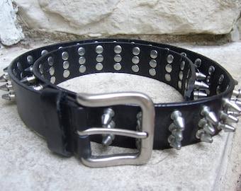 Rocker Style Spike Grommet Black Leather Belt