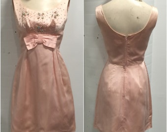 Baby Pink 1940s Satin Jewelled Dress