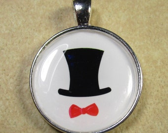 Top Hat Pendant, Top Hat Jewelry, New Years Eve Pendant, New Years Eve Jewelry, Top Hat and Bow Tie Pendant, Kitchy Pendant, Celebration
