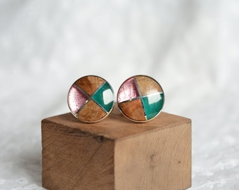 Sterling silver wooden round cuff links, wood and pink green cyan resin mosaic cufflinks, unique 5th anniversary gift for men