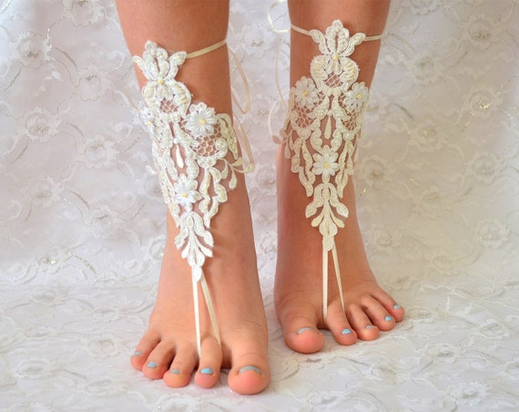 Beach wedding barefoot sandals, France Lace Anklet, Lace Wedding Shoes, Wedding Barefoot Sandals, Beach Shoes, Beach Sandals
