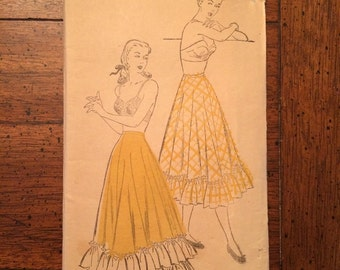 1940's Ladies Petticoat Vintage Lingerie Sewing Pattern New York Pattern 295 Waist 32