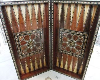 Elegant Backgammon/ Checkers/Chessboard  With Mosaic Woodwork -made of walnut as well as mother of Pearl and Seashell .