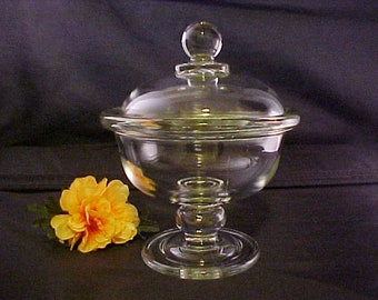 Vintage Clear Footed Bowl With Cover, Covered Crystal Compote or Candy Dish