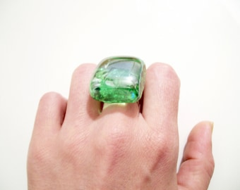 Green Glass Ring, Vivid Mojito Green Ice Cube Ring, summer cocktail jewelry
