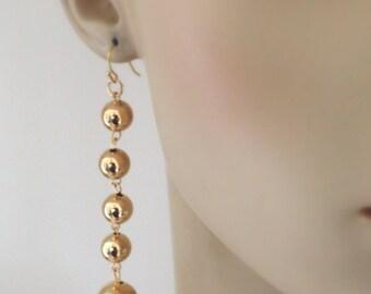 Gold Earrings - Ball Earrings - Long Earrings - Statement Earrings - Party Earrings - handmade jewelry
