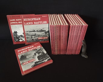 WWII Books 18 Volumes - The Military History  of World War II - Vintage Reference Historic Book Set - Man Cave Decor