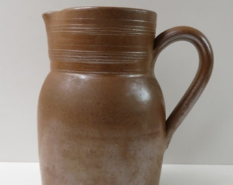 "Gres du Berry France - Handmade Vintage French Water or Milk pitcher - stoneware with salt glaze Jug vase - Height  17 cm / 6.75"""
