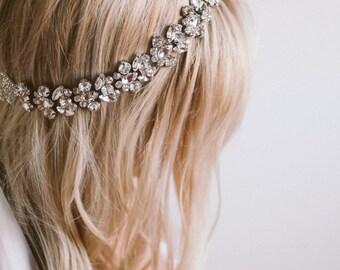 Amazing Crystal Bridal Halo, Silk Ribbon Bridal Headpiece, Rhinestone Head Piece