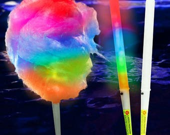 Lot of 12 Glow in the Dark LED Sticks with Cotton Candy on the Stick Pick Your Flavor