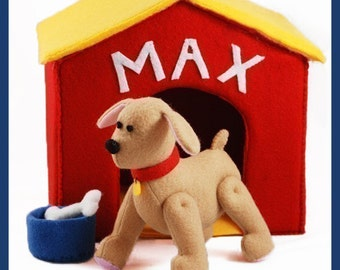 PLAYFUL PUPPY - PDF Pattern (Dog, Doghouse, Bone, Bowl)