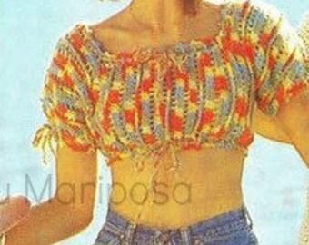 Crochet TOP Pattern Vintage 70s Mosaic Midriff Top Bohemian Clothing Crochet Blouse Pattern