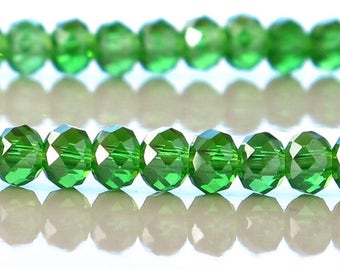 Green AB 4x3mm Crystal Rondelle Faceted Half Strand 72 Beads