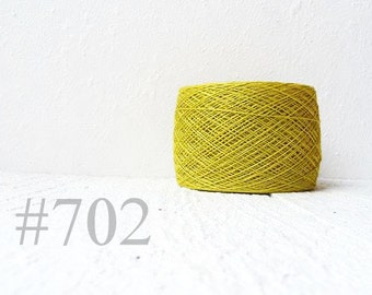 Yellow green linen crochet thread -  laceweight  linen yarn # 702