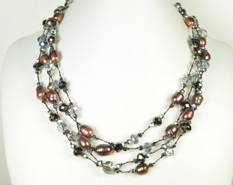 Christmas Special - Pearl Neklace -  Pearl Long Necklace - 39 inches 8-9mm Chocolate/Brown Freshater Pearl and Crystal  Necklace