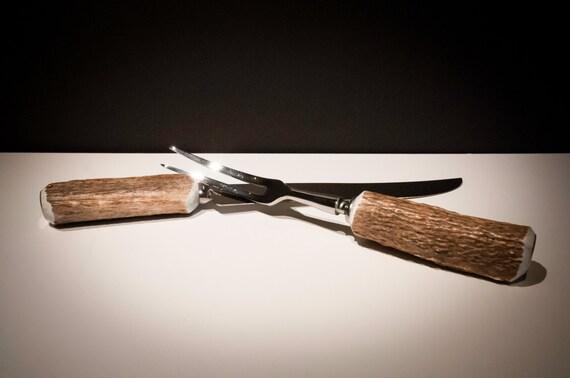 Wonderful Shed Antler Carving Knife and Fork Set