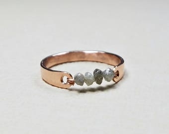 Grey Diamond Ring, Raw Diamond Ring, Suspension Ring, Rough Diamond Ring, April Birthstone Ring, Uncut Diamond: Not For Every Day Use