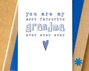 Favourite Grandma Ever Ever Ever Card - Mother's Day Card - birthday card for grandma - grandmother card - granny card - nanny card