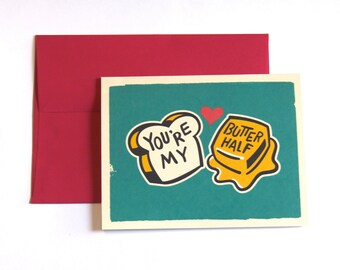 You're My Butter Half Card. Valentine's Day Card. Anniversary Card. Wedding Card. Love Card. Pun Card. Better Half Card.
